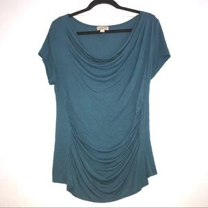 One world cowl neck blue tee Large